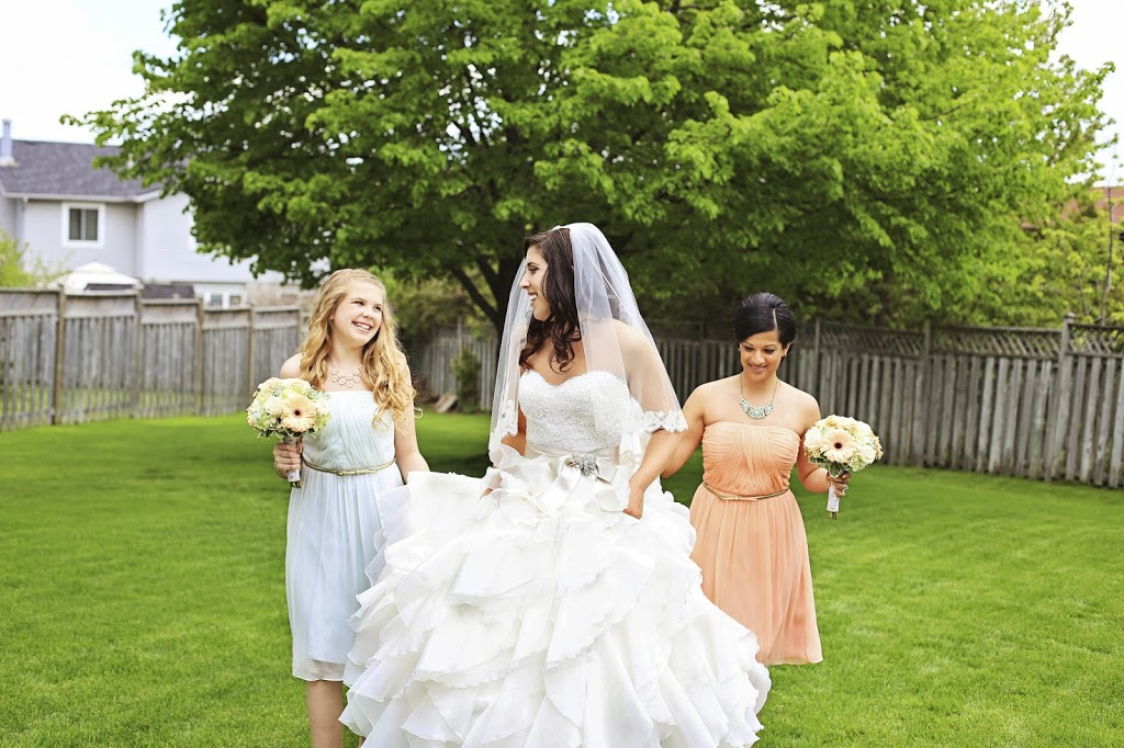 mint and peach bridesmaids