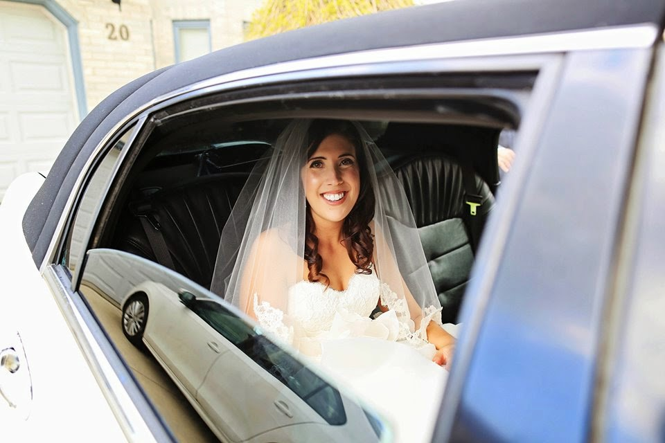 bride in white limo